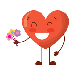 cute heart love holding bouquet flowers gift vector illustration