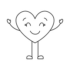 cute cartoon heart happy character vector illustration thin line image