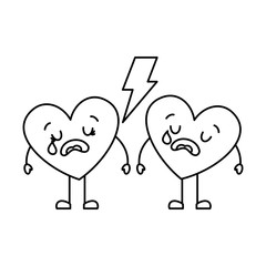 couple love heart cartoon broken crying vector illustration thin line image