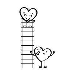 couple of hearts proposing love on a ladder vector illustration thin line image
