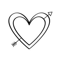 love heart pierced arrow valentine day romantic vector illustration thin line image