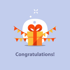 Present giveaway, surprising gift, yellow box, red ribbon, receiving special prize, birthday congratulation, fun celebration