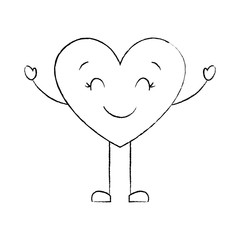 cute cartoon heart happy character vector illustration sketch image