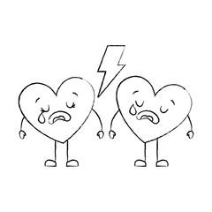 couple love heart cartoon broken crying vector illustration sketch image