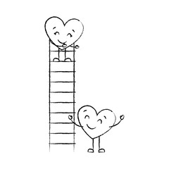 couple of hearts proposing love on a ladder vector illustration sketch image