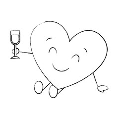 cartoon heart in love sitting with wine glass celebration vector illustration sketch image