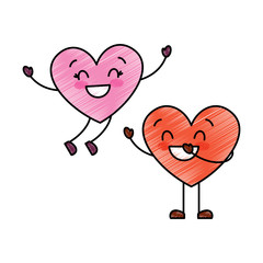 couple happy hearts in love together forever vector illustration drawing image