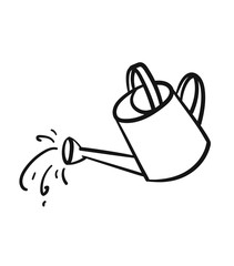 Watering can sketch icon for web, mobile and infographics. Hand drawn Watering can vector icon isolated on white background.