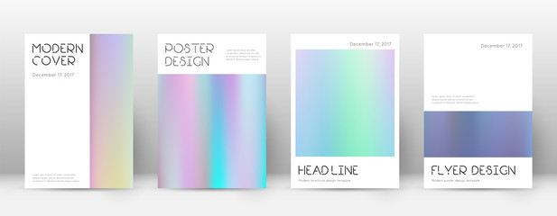 Flyer layout. Minimal admirable template for Brochure, Annual Report, Magazine, Poster, Corporate Presentation, Portfolio, Flyer. Artistic pastel hologram cover page.