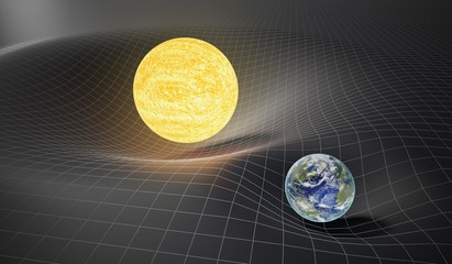 Gravity and general theory of relativity concept. Earth and Sun on distorted spacetime. 3D rendered illustration.