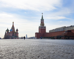 The removed man's figure against the background of the Kremlin