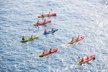 People kayaking in the sea