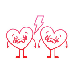 couple love heart cartoon broken crying vector illustration degrade red line image