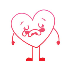 cute cartoon heart love crying sad character vector illustration degrade red line image