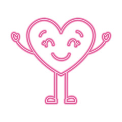 cute cartoon heart happy character vector illustration neon pink line image