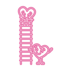 couple of hearts proposing love on a ladder vector illustration neon pink line image