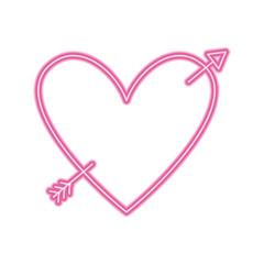 love heart pierced arrow valentine day romantic vector illustration neon pink line image