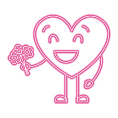 cute heart love holding bouquet flowers gift vector illustration neon pink line image