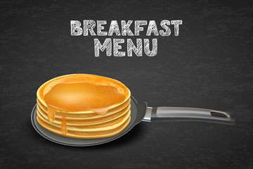 Tasty pancakes with honey or maple syrup on pan, vector realistic illustration. Design for breakfast dessert menu, cafe, restaurant. Morning recipe concept.