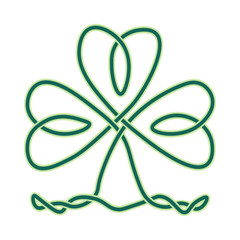 Vector imitation of celtic knotwork: clover or shamrock endless knot as design element for St. Patricks day. Shamrock knot is great also as irish symbol of luck, win and success.