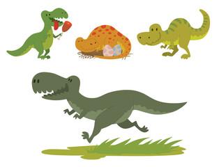 Dinosaurs vector dino animal tyrannosaurus t-rex danger creature force wild jurassic predator prehistoric extinct illustration.