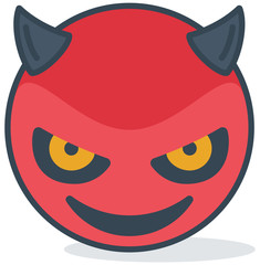 Isolated evil smiling emoticon