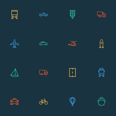 Transport icons line style set with aerostat, caravan, auto and other helicopter