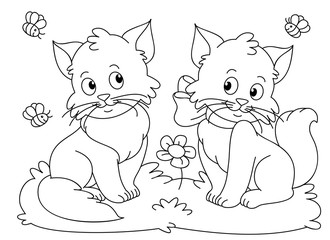 Funny cats coloring book vector