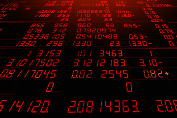 Red electronic board of stock market quotes