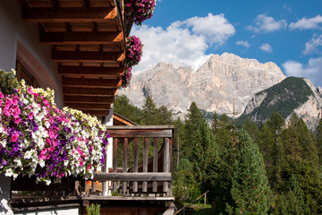 Landscape view with flower balcony of Unesco World Heritage site Dolomiti, Alta Badia, Italy