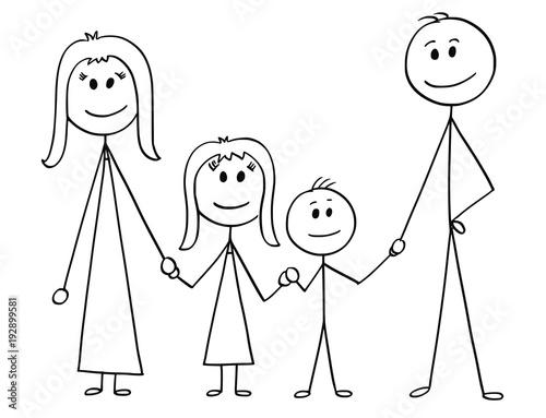 """Libro Para Colorear Madre Hija Ilustraciones Vectoriales Clip: """"Cartoon Stick Man Drawing Illustration Of Happy Family Of"""