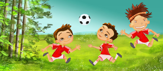 Boy play football. Happy childhood concept.