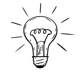 Cartoon drawing illustration of shining light bulb.