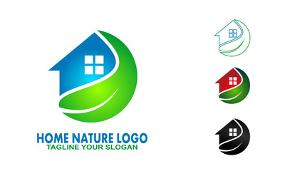 house and leaf graphic vector. nature house logo design.