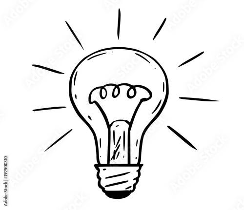 Cartoon Drawing Illustration Of Shining Light Bulb Stock Image And