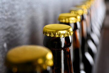 Bottles of fresh beer, closeup