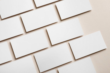 Blank business cards on light background