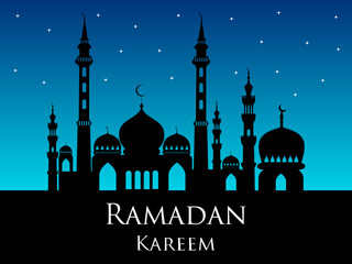 Ramadan kareem arabic mosque silhouette magic night background