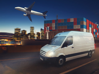 Fast van on road delivering at night with cargo and airplane in background. 3D Rendering
