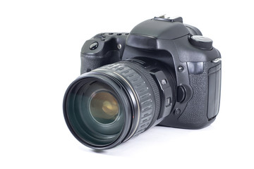 Photo old DSLR camera on isolated white.