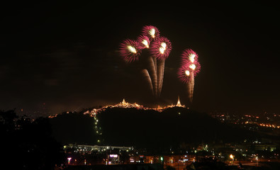 Multicolor fireworks night scene
