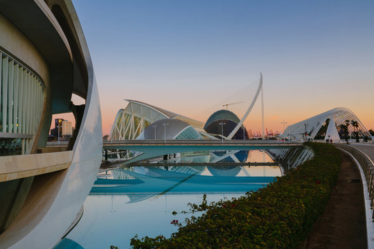 City of art and science during warm susnset in Valencia, Spain