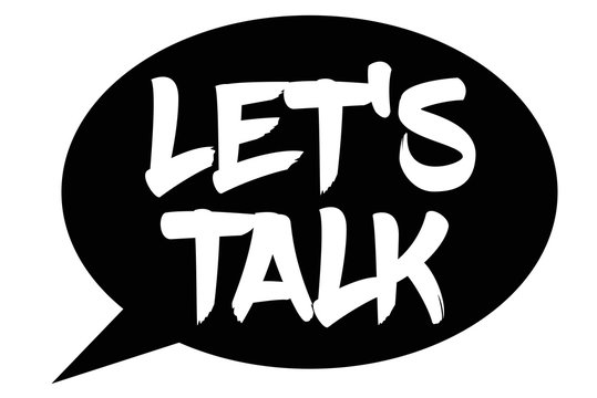 Let's Talk typographic stamp. Typographic sign, badge or logo.