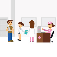 Illustration sign up patient in hospital