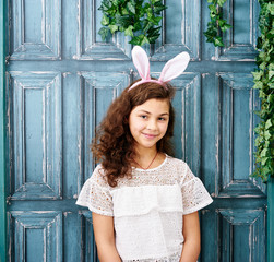 Ten years girl with bunny ears