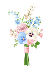Vector bouquet of pink, blue and white spring flowers isolated on a white background.
