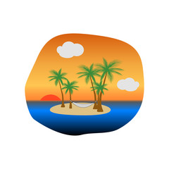 Sunset on tropical island with palm trees and a hammock hanging in the trees, vector