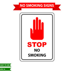 Caution stop smoking and air clean area sign in vector style version, easy to use and print