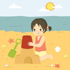 Happy girl making a sand castle on the beach. Beach holiday cartoon vector