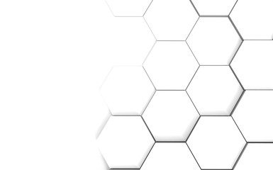 Abstract hexagonal futuristic white surface. 3d illustration